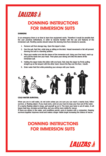 Lalizas Imo Signs Donning Instructions For Immersions Suites