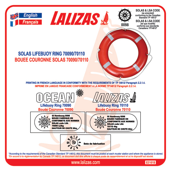 Marking Label Lifebuoy 70090,70110 for CANADA