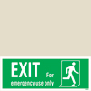 Exit Left-man Run Right-for Em. Use Only